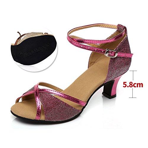 Tacones Red 8CM Sandalia pie del Zapatos de Fondo 23 Mediados Rose 4Inch Social 9 Baile de Latino Longitud WYMNAME Zapatos Baile Blando Zapatos Mujeres de Baile aqXUUCA
