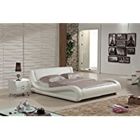 Container Direct Dona Collection Modern Faux Leather Platform Bed with Built In Headboard, Ivory, Queen