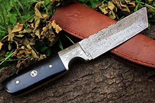 DKC-524-TANTO-SKY-Damascus-Hunting-Knife-9-Long-10-oz-Black-Micarta-Handle-45-Blade