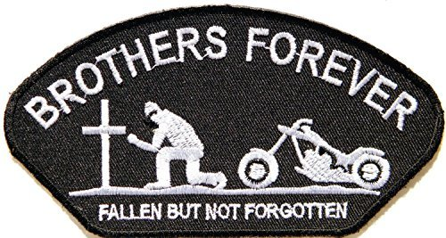 BROTHERS FOREVER FALLEN BUT NOT FORGOTTEN Lady Biker Rider Tatoo Jacket T-shirt Patch Sew Iron on Embroidered Sign Badge Costume