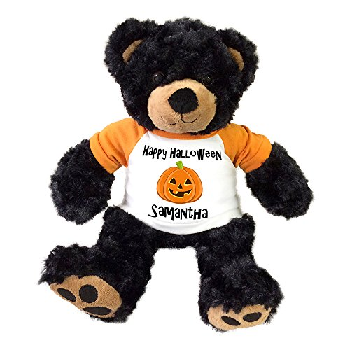 Personalized Halloween Teddy Bear - 13 Inch Black Vera Bear]()