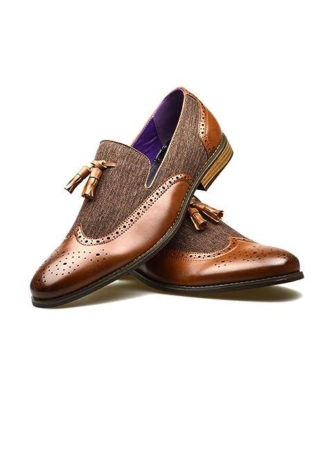 Mocasines para Hombre de Piel sintética con borlas para Boda, Color Marrón, Talla 44: Amazon.es: Zapatos y complementos