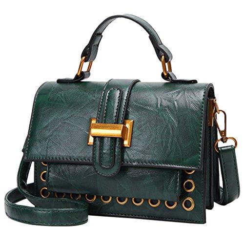 Crossbody Purse Bag Side Women Bageek Bag Mini Green Dark Top Leather Handbag Pu Handle RcRqgBWa6