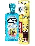 Spongebob Squarepants Battery Powered Turbo Spin Brush & ACT Anticavity Kids' SpongeBob Mouthwash, 16.9 oz