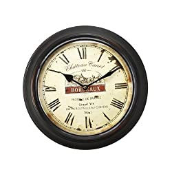 Adeco Black Iron Vintage-Inspired Circular Wall Hanging Clock, Bordeaux, Roman Numerals Home Decor, Ivory