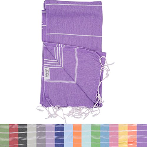 Modal Ribbed (The Riviera Towel Company Peshtemal Hammam Fouta Cotton Turkish Beach and Bath Towel, Purple)