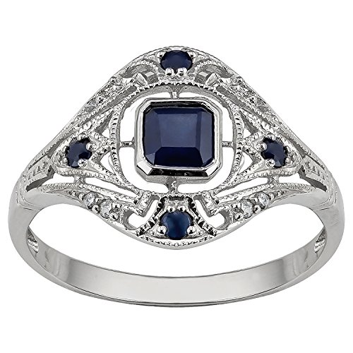 (10k White Gold Vintage Style Genuine Sapphire and Diamond Ring)