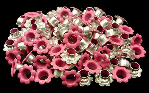 ARTS AND CRAFTS SUPPLIES 100pcs Aluminium Pink Flowers Eyelets Scrapbooking Card Hole LeatherCraft Snap Punch E093
