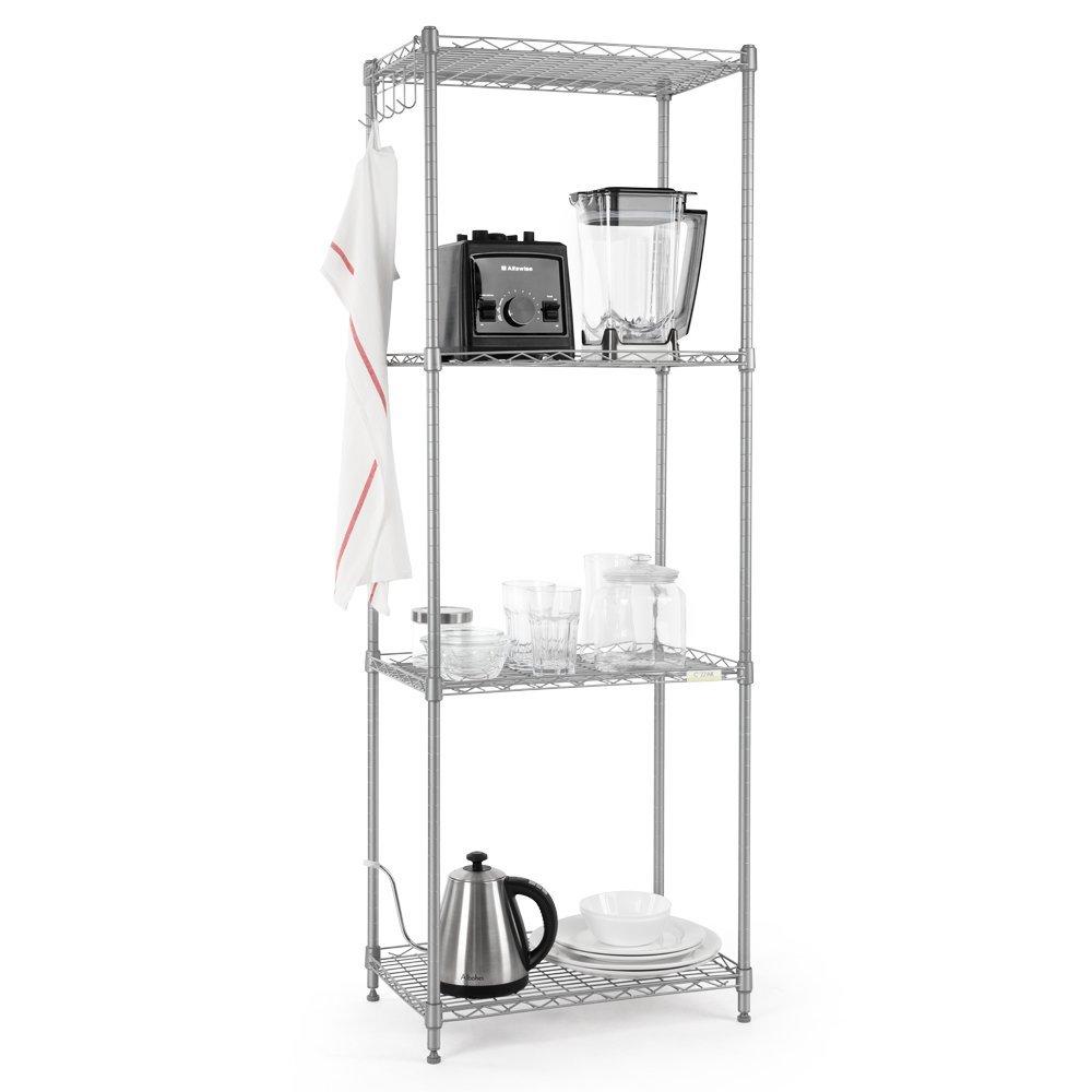 Cozzine Storage Shelves, Adjustable Storage Shelves Heavy Duty Steel Tube 4-Tier Wire Shelving Unit,13.39'' D x 21.26'' W x 59.05'' H,Silver (4-Shelf, Silver)