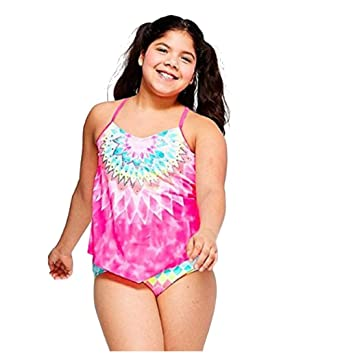 2d4f9898a9 Amazon.com: Justice Girls Swimwear Mandala Tiered Tankini Pink: Clothing