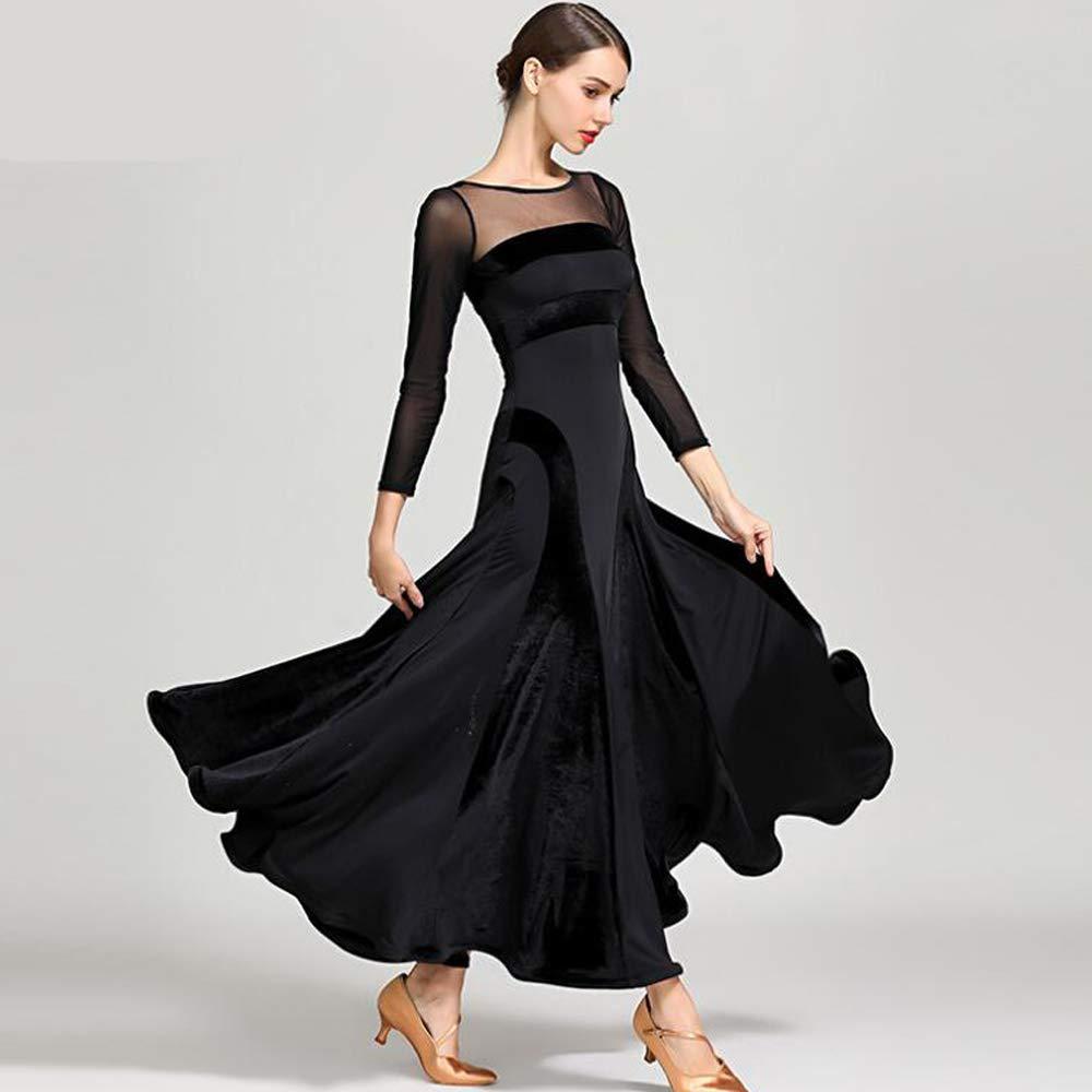 女性のダンスドレス花柄長袖ネット糸トップ社会ダンススカート黒ラテンベリーダンスコスチュームボリュームスカートラージサイズ XL 2XL B07MTDP5QS XXL