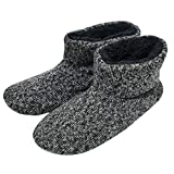 SunbowStar Men's Faux Fur Lined Knit Anti-Slip Indoor Slippers Boots House Slipper Bootie,Black-13 D(M) US