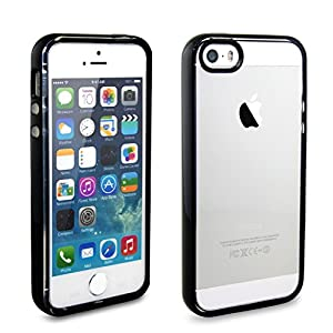iPhone SE Case, iPhone 5 / 5S EZstation Soft Bumper Slim Clear Transparent Rubber Cover Case Snap-On Silicone Back Skin Case for iPhone SE / 5 / 5S (BLACK)