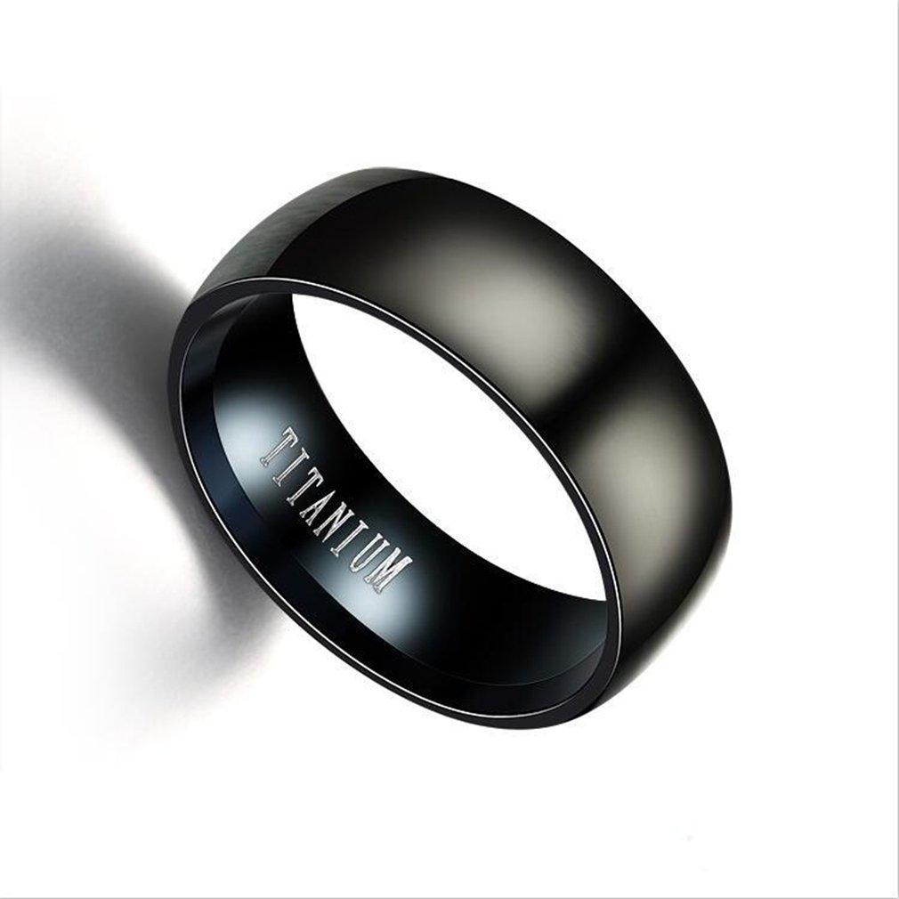GUAngqi Titanium Wedding Rings Black Band in Comfort Fit Matte Finish for Men Women,10#