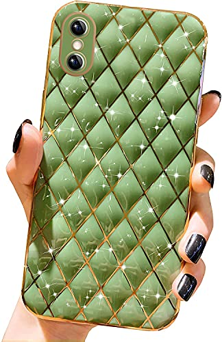 Gimigo Compatible with iPhone X/XS Case for Women/Girl, Cute Sparkle Luxurly Plating Lattice Design, Full Camera Lens Protection + Shockproof Edge Bumper TPU Cover Case for iPhone X/XS -Green