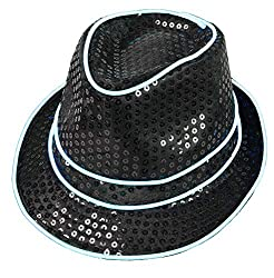 White Light Up With Black Sequin Fedoras Hat