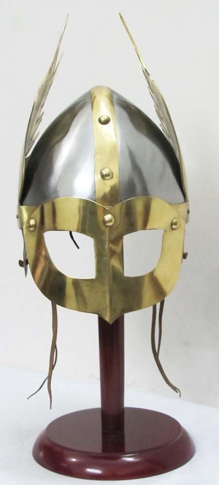Nauticalmart Medieval Mask Viking Helmet Replica Armor Warrior Helmet with Wooden Stand