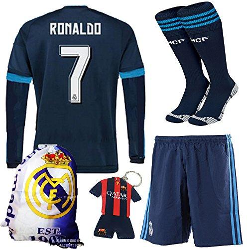 KID BOX¨ 2015/2016 #7 Blue Away Soccer Football Long Sleeve Jersey Sportswear Team Polo Shirt & Short & Sock &