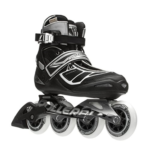 Rollerblade 15 TEMPEST 90C High Performance Fitness/Training Skate with 4x90mm Supreme Wheels, Black/Silver, US Men 10