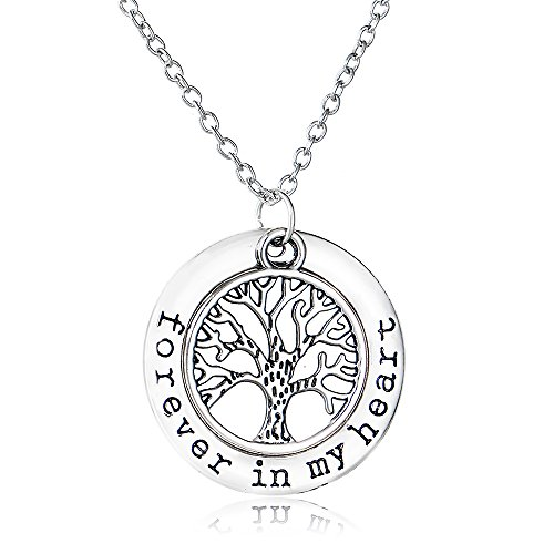 (Morenitor Tree of Life Necklace, Silver Plated Forever in My Heart Hollow Pendant Necklace Elegant Jewellery Gifts for Women, 45cm Necklace Chain (Silver))