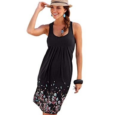 23e1c41063e24 Hioplo Womens Summer Casual Sleeveless Mini Printed Vest Tank Dresses Knee  Length Pleated Sun Dress Black