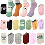 15 Pairs Pure Color Cat Funny Novelty Cotton Low Cut No Show Ankle Socks girls (one size 15 pairs)