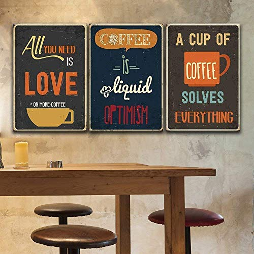 3 Panel Vintage Poster Style Coffee Art x 3 Panels