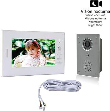 Instrucciones en espa/ñol 1 Monitor TFT LCD a color de 7, 1 C/ámara infrarroja exterior e impermeable con Visi/ón Nocturna Nudito Kit Videoportero universal para vivienda Interfono Intercomunicador