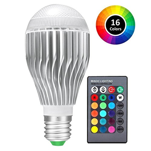 LiPing E26 LED Light Bulbs, Dimmable 10W RGB 16 Color Changing Led Light Bulb with Remote Night Light Lamp ()