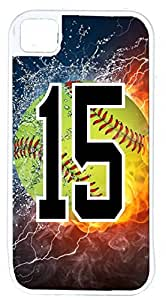 Flaming Softball Sports Fan Player Number 15 White Rubber Hybrid Tough Case Decorative iPhone 4/4s Case