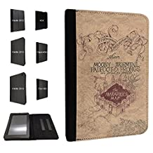 446 - Harry Potter Inspired The Marauder's Map Design Fashion Trend TPU Leather Flip Case For Amazon Kindle Fire HD 7'' 2012 1st Generation Full Case Flip TPU Leather Purse Pouch Defender Stand Cover