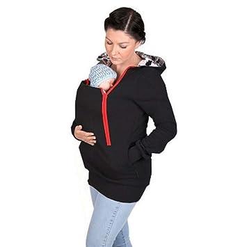 BVC Sudadera Canguro con Capucha Mujer Sudaderas Portabebés Chaqueta Outwear Otoño Invierno Portador De Bebé,
