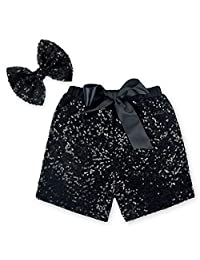 Anbaby Baby Girls Toddler Shorts Sequin Pants with Sequin Bow Hairpin