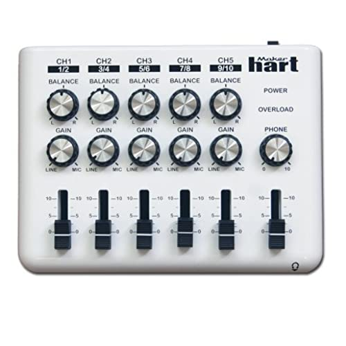 Maker Hart LOOP MIXER - Portable Audio Mixer with 5 Channels, 5 x 1/8