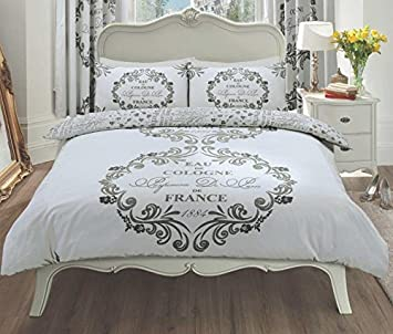 Bettwäsche Set King Size Größe Paris Design Silberfarben Amazon