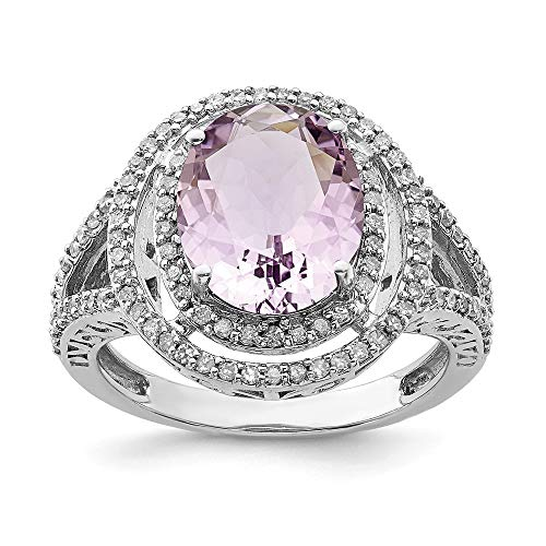 925 Sterling Silver Oval Diamond Pink Quartz Band Ring Size 7.00 Gemstone Fine Jewelry Gifts For Women For Her