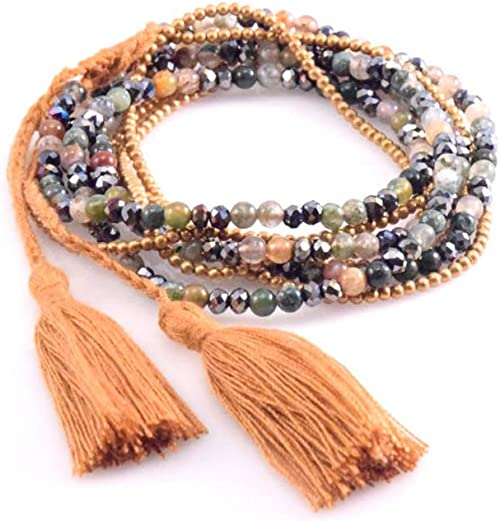 Fashion Long Knot Leopard Skin Stone Beads Crystal Pendant Tassel Necklace
