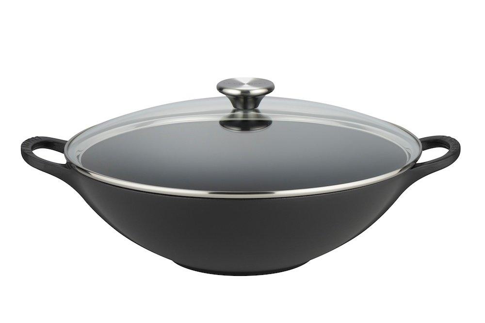 Le Creuset Cast Iron Wok with Glass Lid, 32 cm - Satin Black 21308320000460