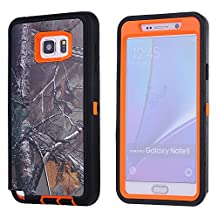 MOONCASE Galaxy Note 5 Case, [Realtree Camo Series] 3 Layers Heavy Duty Defender Hybrid Soft TPU +PC Bumper Triple Shockproof Drop Resistance Protective Case Cover for Samsung Galaxy Note 5 -Orange Withered