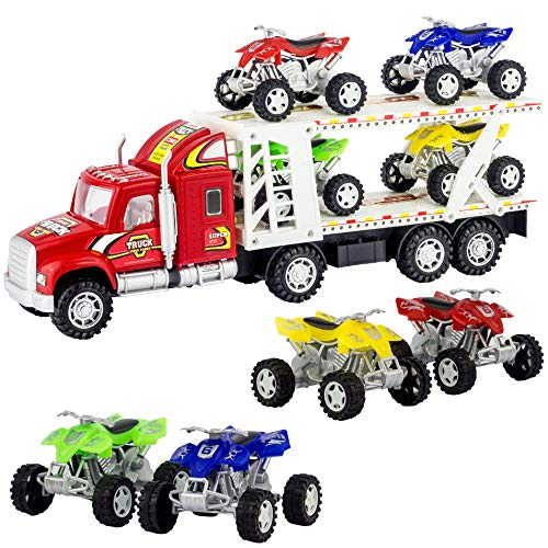 ATV Hauler Big Rig Toy Truck 1:48 Scale Auto Carrier