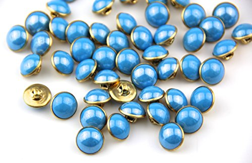 Pack 25pcs 13mm Blue Pearl Half Resin Dome Cap Copper Base Buttons Crafting Sewing Scarpbooking Scarf Clothes