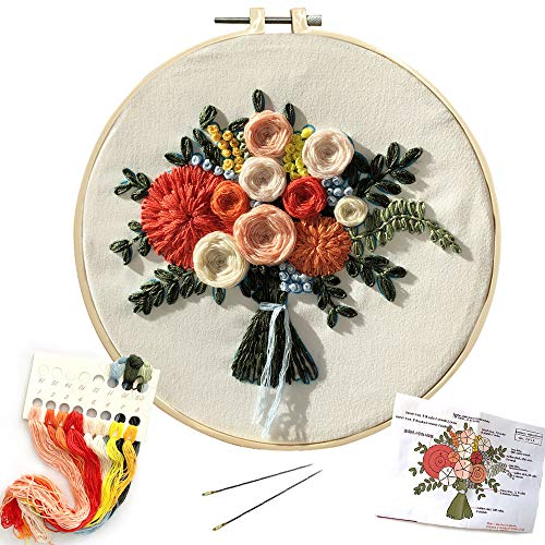SUNTQ Embroidery Kit for Beginners Adults Cross Stitch Kit Hand Embroidery Starter Kit with Patterned Embroidery Cloth Hoop Thread Floss Craft Project(Flower Pattern)