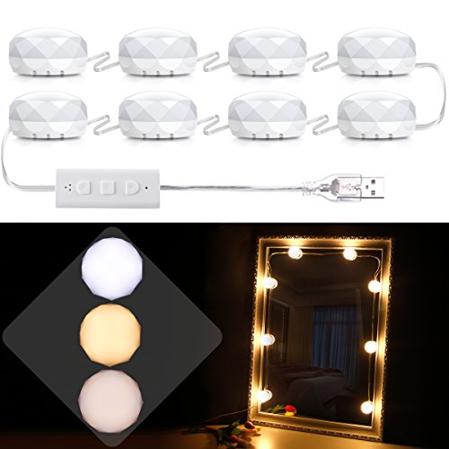 B-Land Hollywood Style LED Vanity Mirror Lights Kit with Dimmable White, Warm White & Warm Yellow Colors, Lighting Fixture Strip for Makeup Vanity Table Set, LED String Light for Party ()
