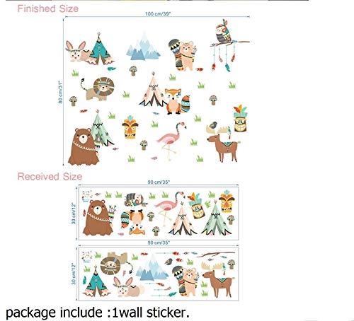 Dessin anim/é Hibou Lion Ours Fox Indien Tribu Animaux Stickers Muraux pour Enfants Chambres P/épini/ère D/écor /À La Maison PVC Stickers Muraux DIY Mural Art