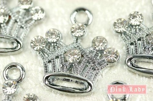 M81 Wholesale Cute Crystal Queen Princess Crown Design 10pcs Bead Charm Pendant