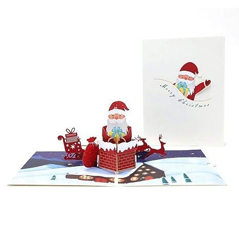 Tarjeta De Felicitación 3D De Navidad Con Diseño Chimenea De ...