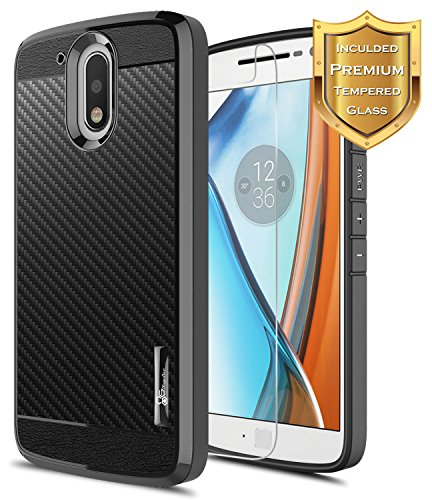 Moto G4 Case with [Tempered Glass Screen Protector]