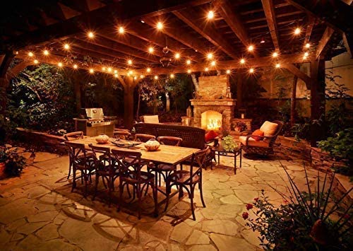 Aldoke Outdoor String Lights Color Changing 28ft Commercial Grade Weatherproof Strand 12 Hanging Sockets 3w Dimmable Led Bulbs Ul Listed