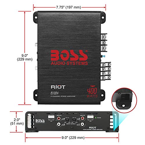 BOSS Audio Elite R1004 4 Channel Car Amplifier – 400 Watts, Full Range, Class A/B, 2-4 Ohm Stable, Great For Car Speakers and Car Stereo by BOSS Audio Systems (Image #4)