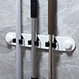 Suction Cup Broom Mop Rack Holder Organizer Hanger Hooks Wall Mounted Broom and Mop Holder Wall Mount Adhesive, Broom Mop Hangers Organiser Organization Stand Gripper for Wall No Drilling Required